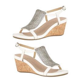 Lotus White Klarissa Wedge Open-Toe Sandals