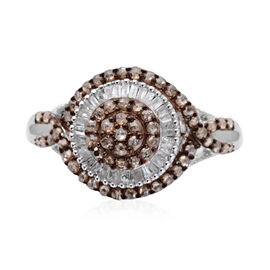 Natural Champagne diamond (0.80 Ct) and Diamond Platinum Overlay Sterling Silver Ring (Size U)  1.000  Ct.