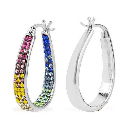 Multi Colour Austrian Crystal Earrings (with Clasp Lock) in Silver Plated.