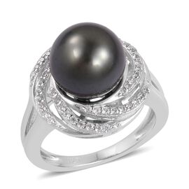 Tahitian Pearl (Rnd 9.5-10mm), Natural White Cambodian Zircon Ring in Platinum Overlay Sterling Silv