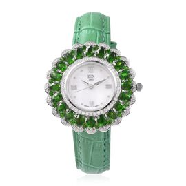 EON 1962 Swiss Movement Russian Diopside and Natural White Cambodian Zircon Watch with Green Genuine