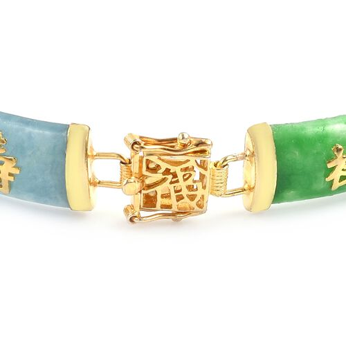 Green, Red and Multi Colour Jade Chinese Symbol LU (Promising Career) , SHOU (longevity) and FU (Good Luck) Bracelet (Size 6.5) in Yellow Gold Overlay Sterling Silver 50.000 Ct.