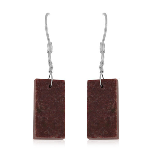Thulite Hook Earrings in Sterling Silver 25.75 Ct.