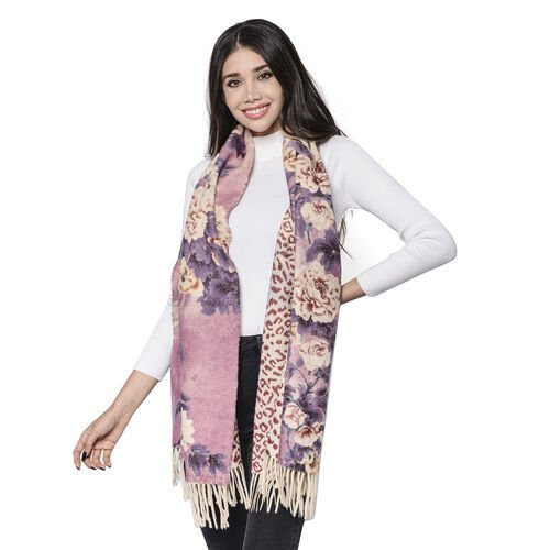 LA MAREY Super Soft 100% Lambswool Reversible Beige Leopard and Dusty Pink Floral Pattern Shawl with Tassels (180x65cm)