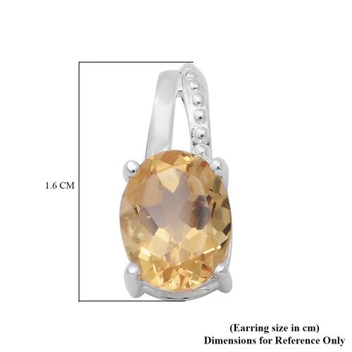 Citrine Earrings (with Push Back) in Sterling Silver 3.400 Ct.