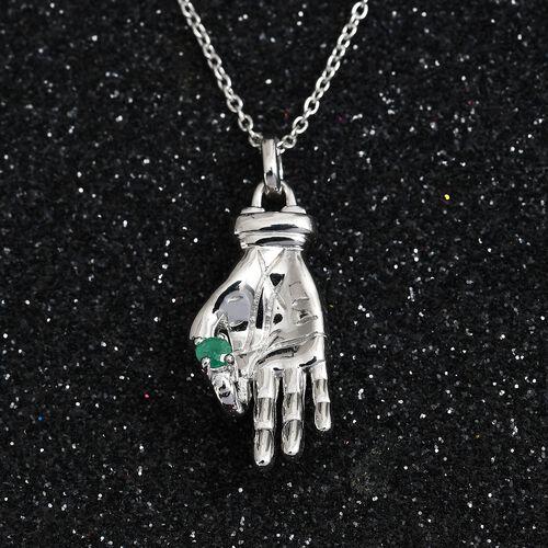 Sundays Child -  Kagem Zambian Emerald Hand Holding Necklace (Size 18) in Platinum Overlay Sterling Silver