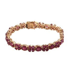 GP African Ruby (Ovl and Pear), Blue Sapphire Bracelet (Size 7.5) in 14K Gold Overlay Sterling Silve