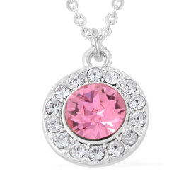 One Time Close Out Deal- Eternity Crystal from Swarovski Pink and White Crystal (Rnd) Pendant with C