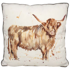 Lesser &  Pavey Country Life Highland Cow Cushion (Size 43x43x10cm) - White