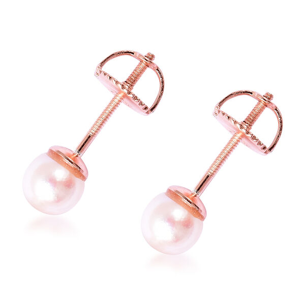 Japanese Akoya Pearl Ball Stud Earrings (with Screw Back) in Rose Gold Overlay Sterling Silver