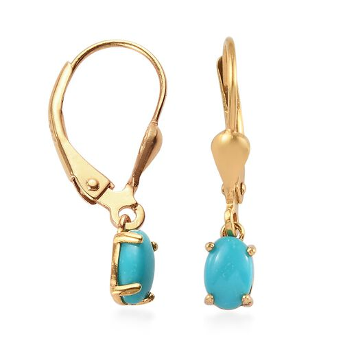 Arizona Sleeping Beauty Turquoise Solitaire Lever Back Earrings in 14K Gold Overlay Sterling Silver 1.00 Ct.