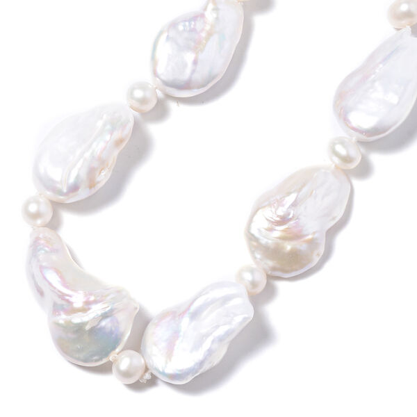 14K Yellow Gold Baroque White Pearl Necklace (Size 20) with Magnetic Lock