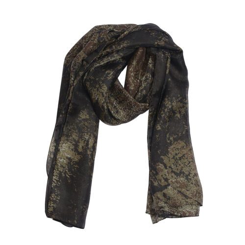 100% Mulberry Silk Dark Brown and Multi Colour Abstract Pattern Scarf (Size 175x100 Cm)