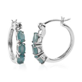 Grandidierite (Ovl) Hoop Earrings (with Clasp) in Platinum Overlay Sterling Silver 1.25 Ct.