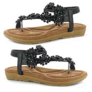 Ella Daisy Toe Post Sandal with Elastic Strap in Black (Size 4)