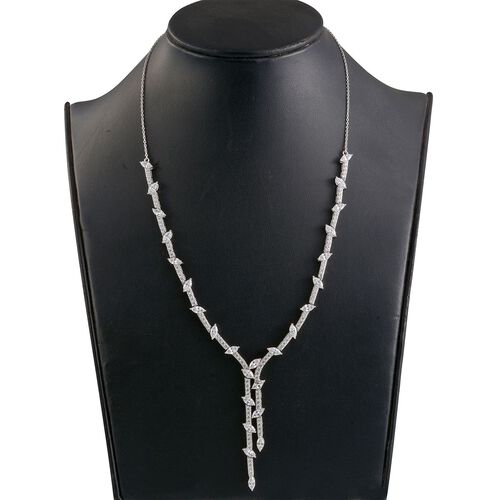 J Francis - Platinum Overlay Sterling Silver (Mrq) Necklace (Size 20) Made with SWAROVSKI ZIRCONIA