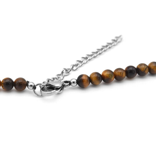 Yellow Tigers Eye Necklace (Size 18 with 2 inch Extender) in Stainless Steel 138.74 Ct.