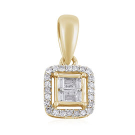 9K Yellow Gold SGL Certified Diamond (Rnd and Bgt) (I3/G-H) Pendant  0.20 Ct.