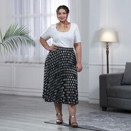 Black Pleated Midi Skirt with Elasticated Waist