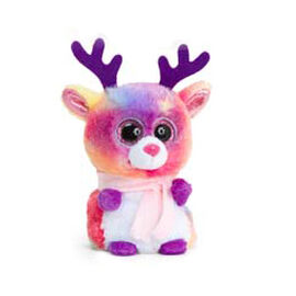Multi Colour Bear Soft Toy with Pink Scarf 10cm