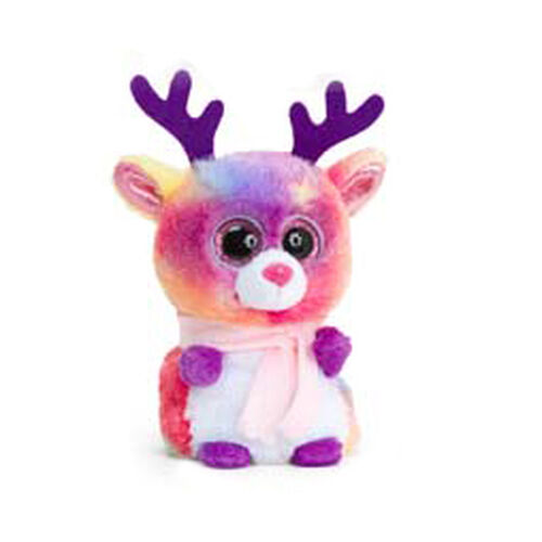 Rainbow Reindeer Soft Toy with Pink Scarf 10cm