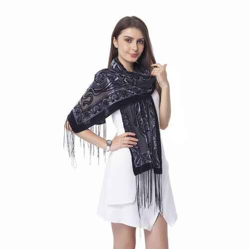 Designer Inspired - Black, Light and Dark Grey Colour Devore Style Bandanna Flower Pattern Scarf (Size 160x50 Cm)