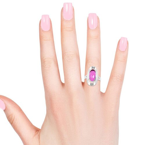 Royal Bali Collection Radiant Orchid Triplet Quartz (Ovl) Solitaire Ring in Sterling Silver 7.500 Ct.