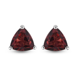 Red Garnet Earrings (with Push Back) in Platinum Overlay Sterling Silver 1.69 Ct.
