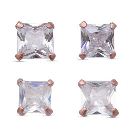 One Time Close Out Deal - Set of 2 -  White Cubic Zirconia Earring in Roe Gold Overlay Sterling Silv
