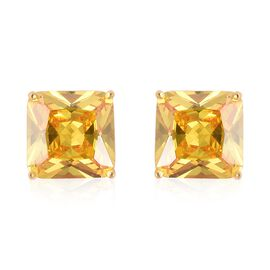 One Time Deal- ELANZA Simulated Canary Cubic Zirconia(Princess Cut) Stud Earrings (with Push Back) i