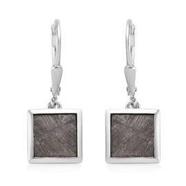 Tucson Special - Meteorite (Sqr) Drop Lever Back Earrings in Platinum Overlay Sterling Silver 12.50