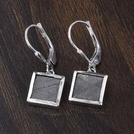 Meteorite (Sqr) Drop Lever Back Earrings in Platinum Overlay Sterling Silver 12.50 Ct.