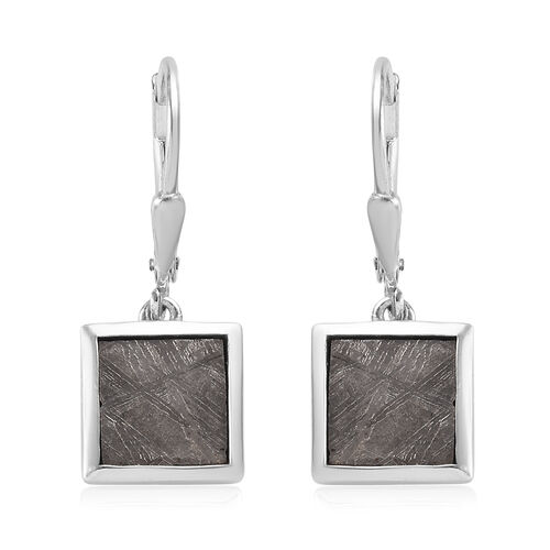12.50 Ct Meteorite Solitaire Drop Earrings in Platinum Plated Sterling Silver