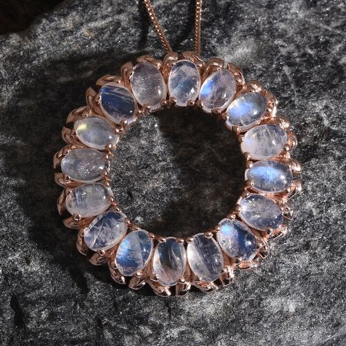 Sri Lankan Rainbow Moonstone (Ovl) Circle of Life Pendant with Chain in Rose Gold Overlay Sterling Silver 8.750 Ct. Silver wt. 7.21 Gms.