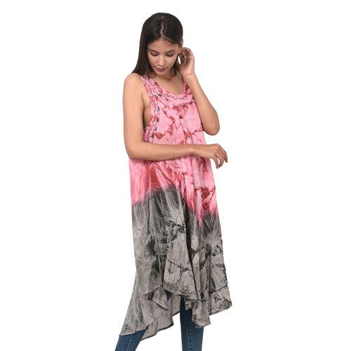 Summer Special- Embroidered Tie-Dye Round Neck Umbrella Dress (One Size; L-121cm x W-111cm) - Fuchsia and Black