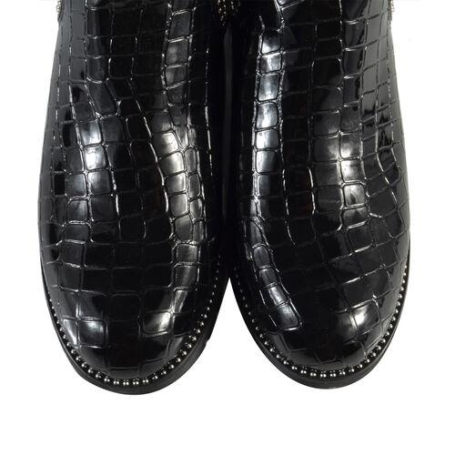 Faux Leather Croc Patterned Gusset Boots (Size 6) - Black