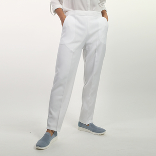 Emma Half Elasticated Comfortable Summer Trousers in White (Size 10) Inside Leg - 25in