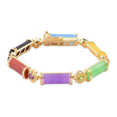 Green Jade (Bgt), Purple Jade, Yellow Jade, Blue Jade, Red Jade, Black Jade and Multi Gemstone Bracelet (Size 8) in Yellow Gold Overlay Sterling Silver 48.010 Ct. Silver wt. 12.50 Gms.