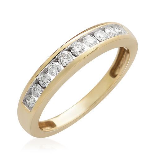 ILIANA 18K Y Gold IGI Certified Diamond (Rnd) (SI/G-H) Half Eternity Band Ring 0.33  Ct.