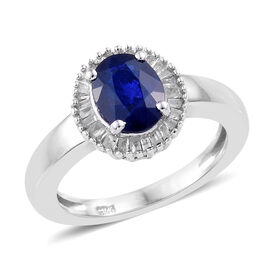 1.50 Carat Blue Spinel and Diamond Halo Ring in Platinum Plated Sterling Silver