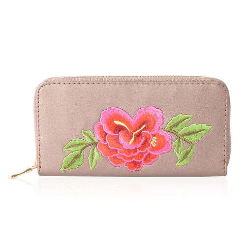 Bronze with Glitters with Embroidered Red and Fuchsia Flower and Green Leaves RFID Wallet ( 19x10x2.