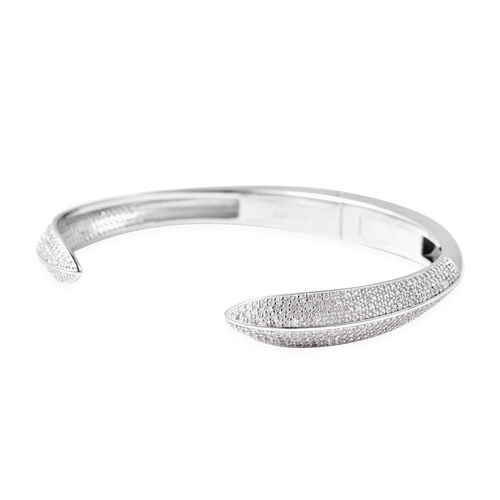 Natural Cambodian Zircon Cuff Bangle (Size 6.75) in Rhodium Overlay Sterling Silver 2.73 Ct, Silver wt. 17.83 Gms