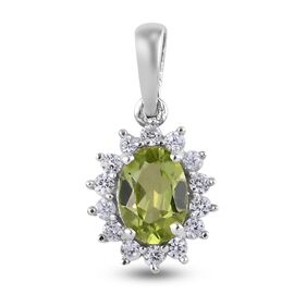 Natural Hebei Peridot and Natural Cambodian Zircon Pendant in Platinum Overlay Sterling Silver 1.12
