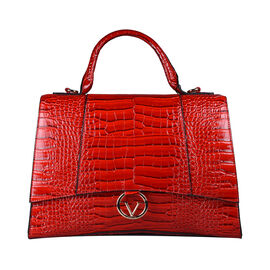 19V69 ITALIA by Alessandro Versace Crocodile Pattern Satchel Bag with Detachable Stap and Metallic Clasp Closure (Size 35x23.5x13cm) - Red
