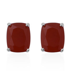 Rosso Onyx (Cush 10x8 mm) Stud Earrings (with Push Back) in Sterling Silver 5.460 Ct.