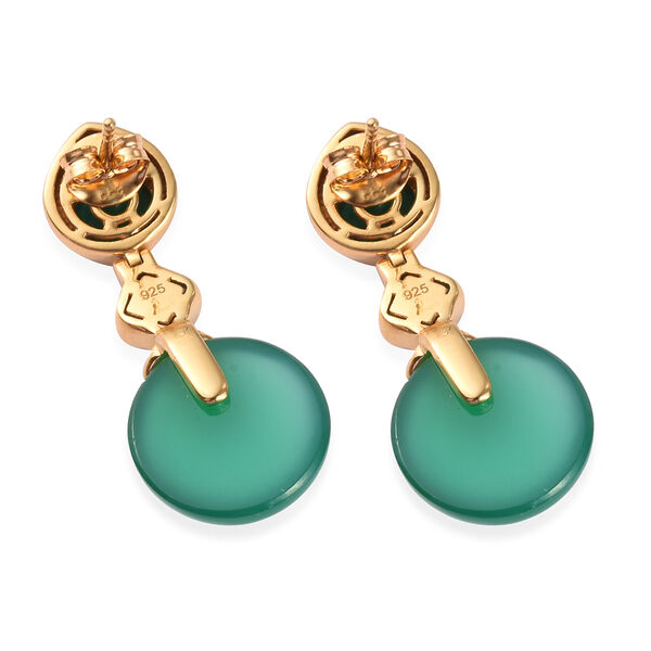 Verde Onyx Enamelled Earrings (with Push Back) in 14K Gold Overlay Sterling Silver 18.00 Ct, Silver wt 5.36 Gms