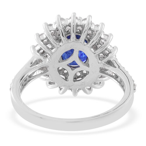 Masoala Sapphire (Ovl 2.80 Ct), Natural White Cambodian Zircon Ring in Rhodium Plated Sterling Silver 4.500 Ct.