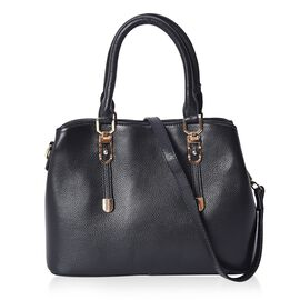 100% Genuine Leather Tote Bag with Detachable Shoulder Strap (Size 32x24x12 Cm) - Black