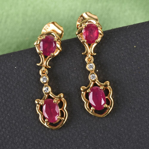 African Ruby and Natural Cambodian Zircon Dangle Earrings (with Push Back) in 14K Gold Overlay Sterling Silver 2.25 Ct.