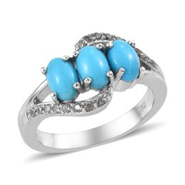 1.50 Ct Sleeping Beauty Turquoise and Zircon Trilogy Design Ring in Platinum Plated Sterling Silver